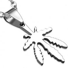 Pandantiv din oțel inoxidabil de culoare argintie - frunză de marijuana