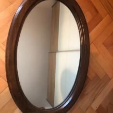 Oglinda veche belgiana,ovala,rama din lemn,masiva