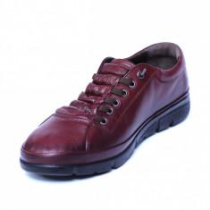 Pantofi dama din piele naturala, Snk, Goretti, Bordeaux, 37 EU