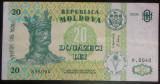 Bancnota 20 Lei - Republica MOLDOVA, anul 2006 *cod 346 = AN MAI RAR!