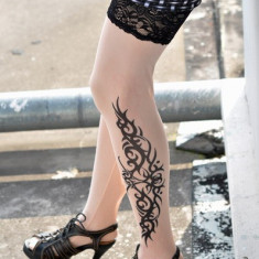 D129 Ciorapi cu model imitatie tatuaj