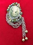 Brosa - decorativa / Vintage - Camee + perle