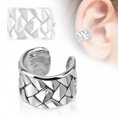 Piercing fals pentru ureche, verigă cu un model de împletitură, placat cu rodiu