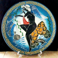 Farfurie veche de mitologia greacă, pictata manual -Eros, Grecia.D 28cm.