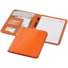 Mapa A4 cu 20 pagini incluse, buzunare pentru documente, Everestus, EY, piele ecologica, portocaliu, saculet si lupa incluse