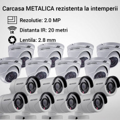 Kit Hikvision 16 camere MIXT dome bullet TurboHD 2.0MP IR 20M