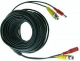 Cablu supraveghere sertizat 18m, semnal video (BNC M-M) si alimentare (DC M-T)