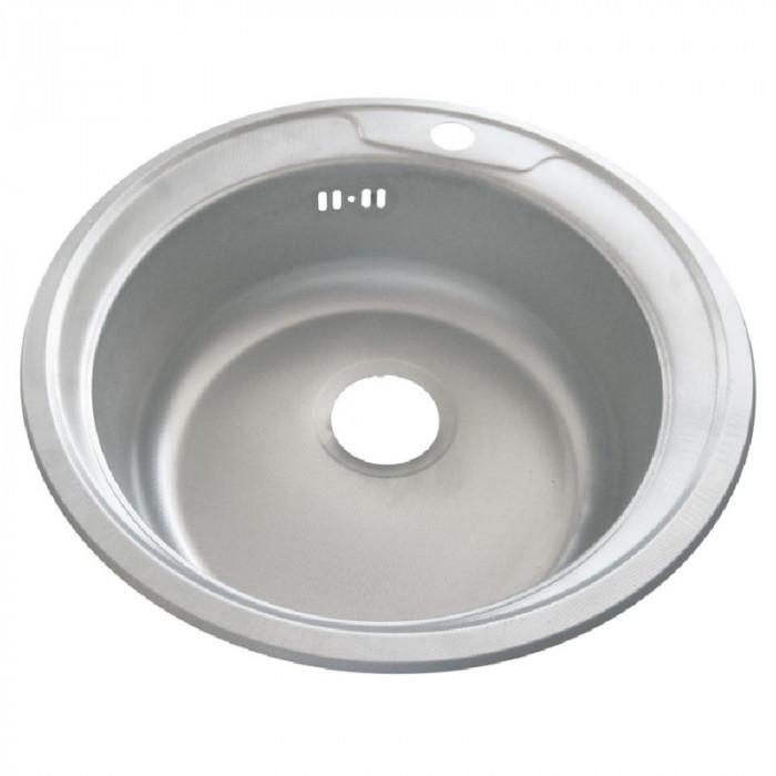 Chiuveta rotunda inox Zilan, 48 cm, design simplu