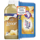 Pachet promo: Pachet Promo: Detergent capsule Lenor All in One PODs Gold Orchid 28 spalari + Balsam Lenor Gold Orchid 50 Spalari + Perle Parfumate Len