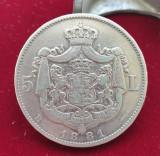 Moneda din argint 5 Lei 1881 varianta 5 Stele