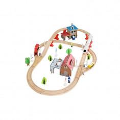 Circuit Trenulet Din Lemn Natural Cu 89 De Accesorii Incluse, WoodTrain