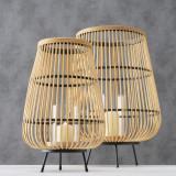 Cumpara ieftin Set 2 felinare decorative, din bambus, sticla si metal Inu Natural / Negru, Ø42xH61 cm / Ø28xH46 cm