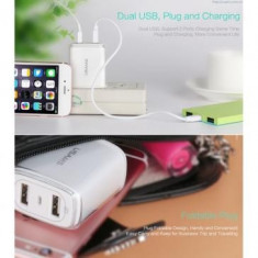 Incarcator retea Usams U2+ Dual USB Lenovo S580 Alb