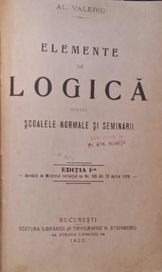 Colegate Lucretiu (latina), Valeriu Logica prima ed. 1920 Elemente geologie 1929