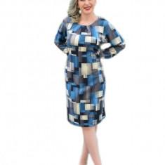 Rochie de toamna, cu un model de patratele, albastra