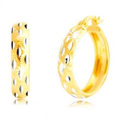 Cercei rotunzi din aur de 14 K - bile din aur alb, crestături mici