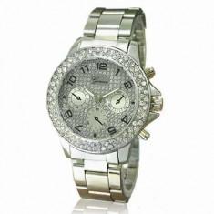 Ceas dama Geneva Crystal - argintiu, cutie eleganta cadou