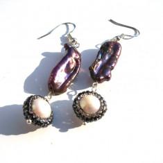 Cercei perle biwa black