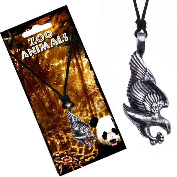 Colier din șnur negru, pandantiv metalic, vultur