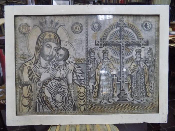 Icoana greceasca Maica Domnului si Sf. Imparati Constantin si Elena