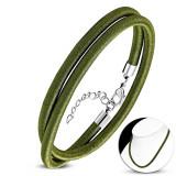 Colier verde oliv cu șnur lucios, lungime reglabilă