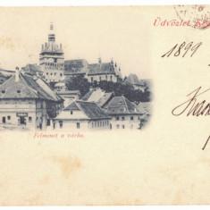3205 - SIGHISOARA, Litho, Romania - old postcard - used - 1899, Circulata, Printata