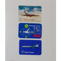 Lot 3 Calendare 1968, 1970, 1974 - Calendar De Buzunar Tematica Tarom Aviatie
