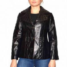 Haina dama, din piele naturala, marca Kurban, 15-01-95, negru , marime: S