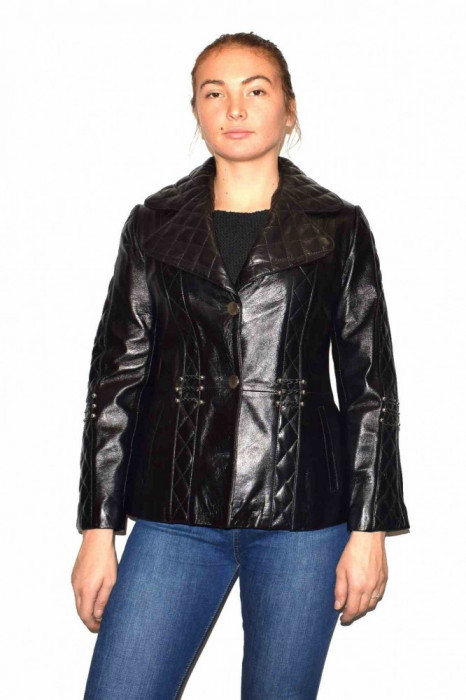 Haina dama, din piele naturala, marca Kurban, 15-01-95, negru S