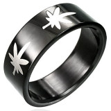 Inel negru din oțel inoxidabil cu marijuana - Marime inel: 67