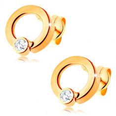 Cercei din aur 585 - cerc cu diamant transparent