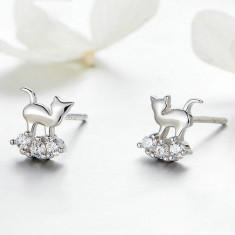 Cercei din argint cu Pisici Sofisticate