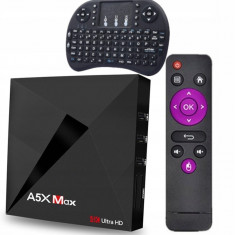 Mini PC SMART TV BOX, A5X Max Android 9.0, 4/32GB ROM, Netflix,HBO+I8 tastatură