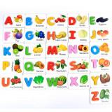 Cartonase cu litere legume si fructe pentru invatarea alfabetului.