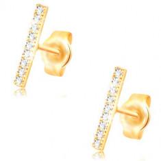 Cercei din aur galben de 14K, linie din zirconii transparente