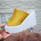 Papuci Madani galbeni cu platforma -rl
