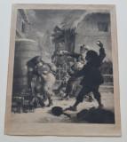 """""""Bataia cu bulgari de zapada"""" veche gravura"""