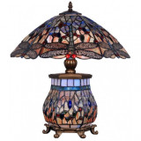 Lampa Tiffanny mare din bronz cu abajur din sticla cu libelule TIF121