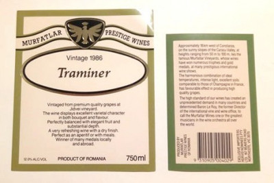 Etichete romanesti vin / eticheta veche romaneasca Murfatlar Traminer 1986 foto
