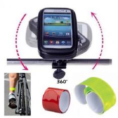 "Set Suport Telefon pentru bicicleta si motocicleta, rezistent la umezeala, marimea L ecran pana la 5.5"", rotatie in jurul axei 360 A° plus Banda refl"
