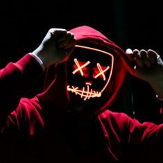 Masca lumina neon led The Purge Noaptea Judecatii club Halloween Comicon +CADOU!