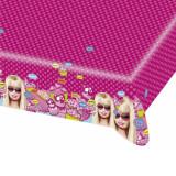 Fata de masa din plastic pentru petrecere copii - Totally Barbie, 180 x 120 cm, Amscan 551971, 1 buc