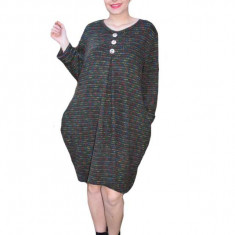 Rochie Anda casual din tricot cu imprimeu multicolor si nasturi,nuanta de verde inchis