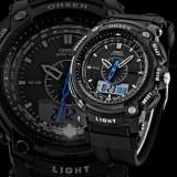 Ceas Sport/Militar,Dual Display,Rezistent Apa,Timer,Alarma,Iluminare LED, Quartz, Plastic