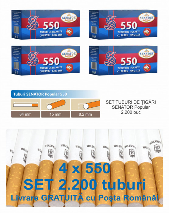 2.200 tuburi de tigari Senator Popular cu filtru maro pentru injectat tutun