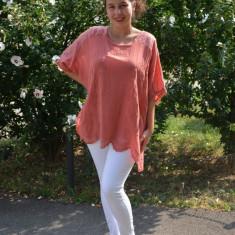 Bluza de vara lejera, model brodat pe ea,paiete la umeri, nuanta caramiziu, 50, 52, 54, 56, 58, Maro