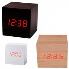 Mini Ceas Digital de Birou Aspect Lemn Data Ora si Temperatura VST869