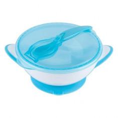 Castron cu ventuza si lingura - BabyOno - Albastru
