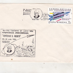 Bnk fil Plic stampila ocazionala Expofil Centenar H Oberth Sibiu 1994, Romania de la 1950, Spatiu