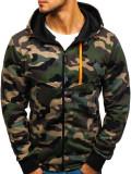 Bluză pentru bărbat cu glugă și fermoar camuflaj-verde Bolf W1381